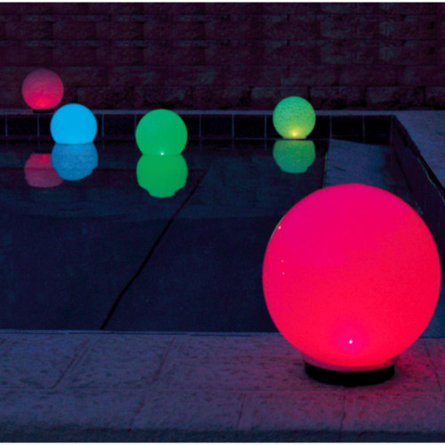 Solar Pool Globe Light has 9 different colors that it rotates through all night long.