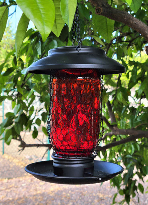 Solar bird feeder has Matte Black Metal and a Glass Jar with 3 openings at the bottom to dispense bird seed into the dish.