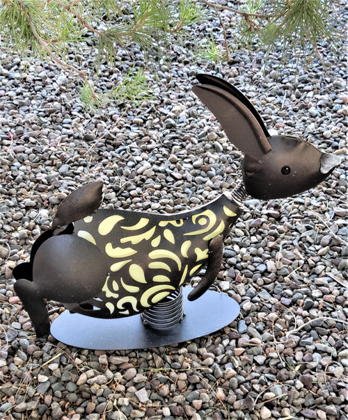 Bunny rabbit is an animal shaped solar light made from Metal and PVC to allow light to filter through.