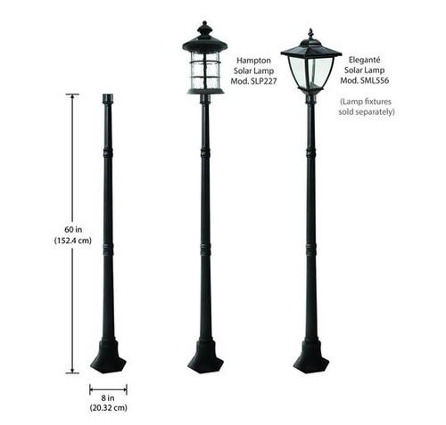 Black Cast Aluminum Pole for Solar Carriage Lanterns - Classy Caps