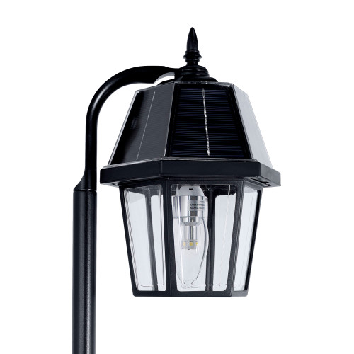 Solar walkway lights include a solar carriage lantern that is 6.90 Long x 9.25 Wide x 7.70 High, including the Finial.