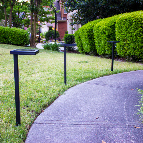 Solar walkway light is made from aluminum, with a powder coated Black finish, and stands over 20 inches high installed into the ground.