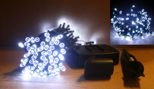 Solar String Lights, with 120 White LED and 33 feet long, can be set to Steady On or Blinking.