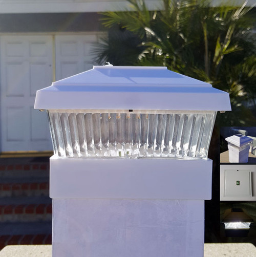 Our 5x5 White solar fence post lights will fit an actual 5x5 post.