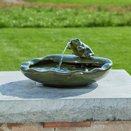 Solar Water Fountain with Green Ceramic Frog and Basin, Pebbles NOT Included.