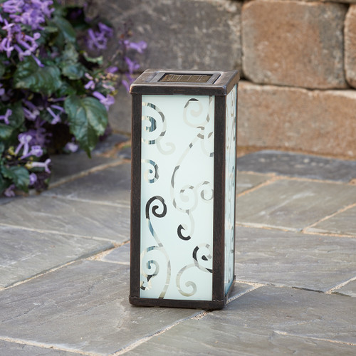 Solar Table Light, with Scrolled Frosted Glass, has 1 White LED.