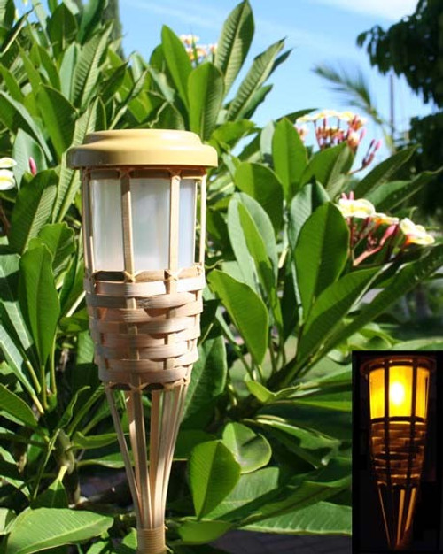 Solar Walkway Lights with Bamboo Basket 5 LED and 5 Feet Tall.