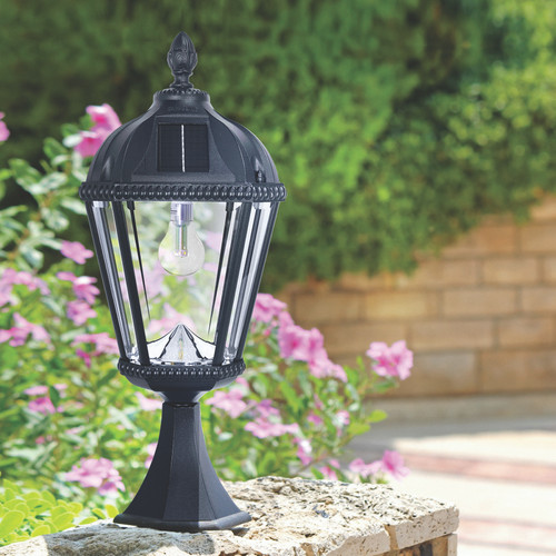 Black solar carriage lantern with a flat mount pedestal for easy installation on your entrance column, pedestal and pillar.