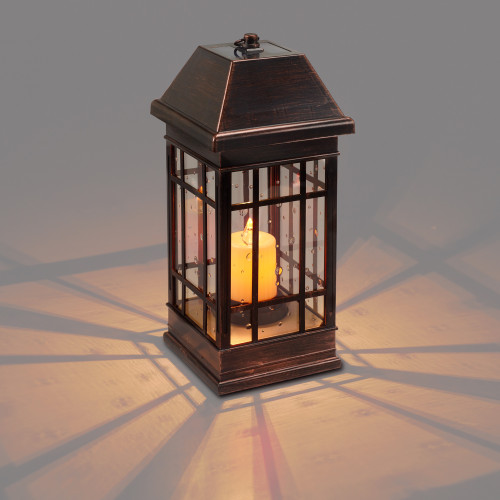 Solar Table Lantern is 15 Inches High with 2 Warm White and 1 Amber LED.