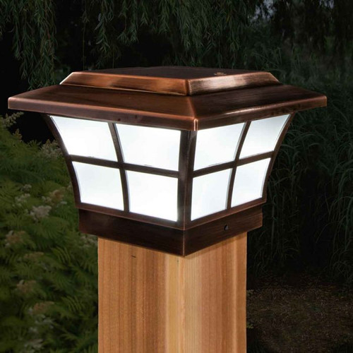 4x4 solar fence post cap lights are manufactured by Classy Caps and have a one year warrant.