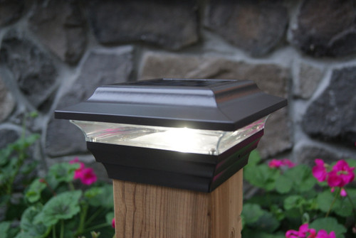 4x4 Bronze Solar Deck Post Cap Lights are made from Powder Coated Cast Aluminum.