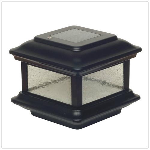 4x4 Solar Deck Post Cap Lights are Black Aluminum with Pebbled Glass Panels.