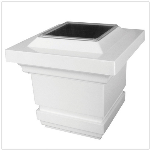 Solar Post Cap Lights in White with 4 Bright LED and cascading Light.