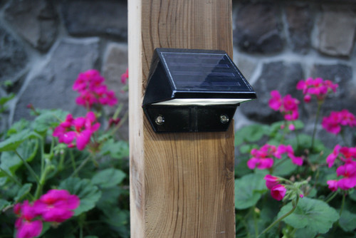 Solar deck rail lights are very low profile for installation on your actual railing to light up steps and deck flooring.