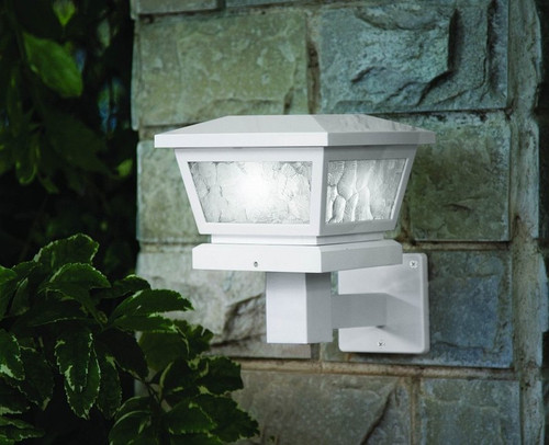 Solar White Post or Wall Mount with Pebbled Glass, 2 Brilliant White LED, Set of 2