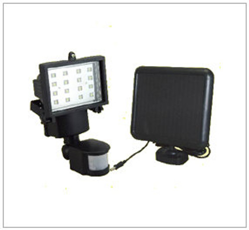 Solar Security Motion Sensor with 16 White LED and Adjustable Light Duration.