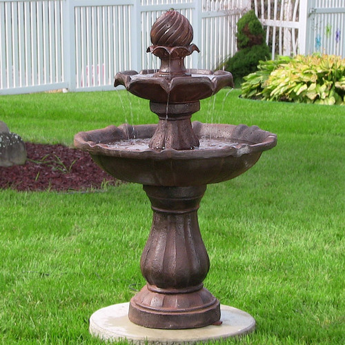 The Rust finish on our solar water fountain with battery backup looks fantastic on your Deck or Brick pavers.