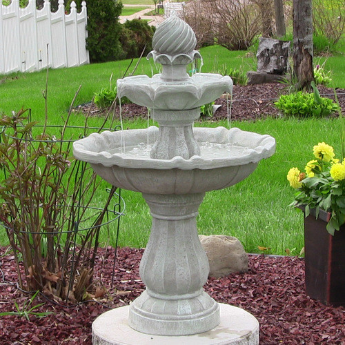 Tiered Solar Powered Fountain in Earth White Finish includes Dry Run Protection and Solar on Demand Features.