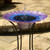 Solar birdbath water fountain is made from glass and powder coated steel, with hand painted Blue and Purple bell flowers through the basin.