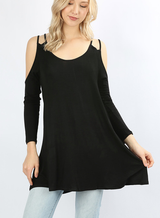 Black Double Strap Cold Shoulder Tunic *Styletyme Exclusive*