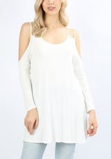 Winter White Double Strap Cold Shoulder Tunic *Styletyme Exclusive*