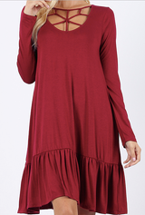 Dark Red Holiday Dress with Ruffled Hem *Styletyme Exclusive*