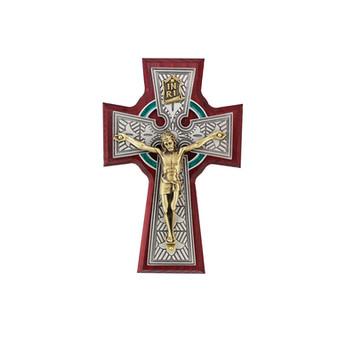 "Cherry Wood Celtic Crucifix with Corpus, 5 1/4"""