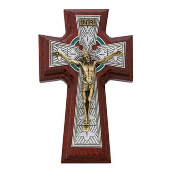 """Cherry Wood Celtic 9"""" Sick Call Crucifix Set"""
