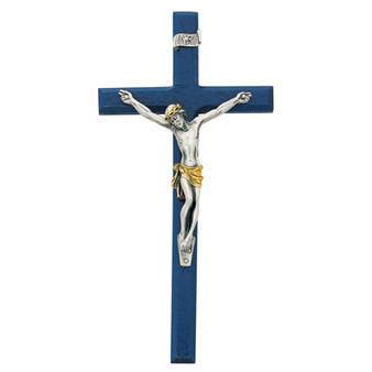 Dark Blue Wood Beveled Crucifix 10 Inches, Two Tone Corpus