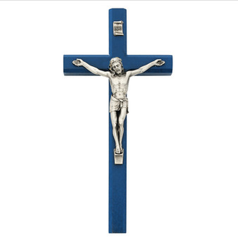 Dark Blue Wood Beveled Crucifix 10 Inches, Antiqued Silver Tone Corpus