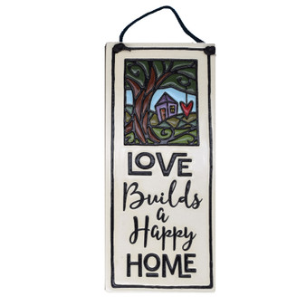 "Spooner Creek Art Tile, ""Love builds a happy home."""