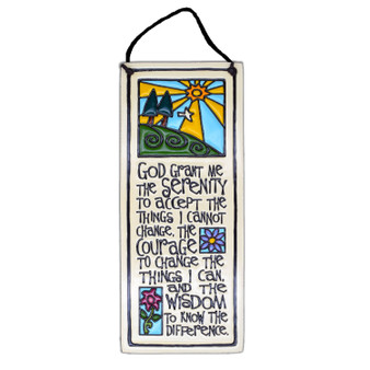 "Spooner Creek Art Tile Etched in Clay 3.5"" x  8.75"" Wall Décor,  ""God grant me the serenity to accept the things I cannot change, the courage to change the things I can, and the wisdom to know the difference."""