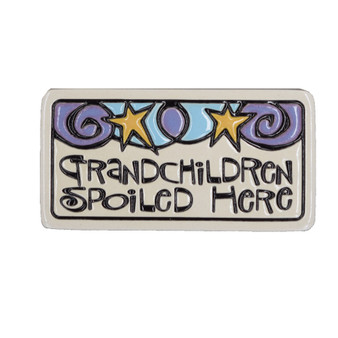 "Spooner Creek Etched Art Tile. About 1.5"" x  3"", Magnet. ""Grandchildren spoiled here."""