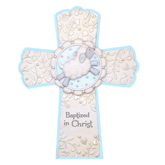 Baptized in Christ Cross  with Blue Highlights