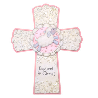 Baptized in Christ Cross  with Pink Highlights