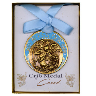 Bless Our Baby Guardian Angel Medal with Blue Enamel and Blue Ribbon