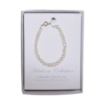 Fresh Water Pearl Bracelet with Sterling Silver and Gold Tone, 5 Inches