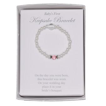 Keepsake Bracelet: Fresh Water Pearl Bracelet, about 1.5 inch diameter, with Poem, for Baby & Bride