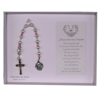Keepsake Glass Pearl and Pink Crystal Jesus Loves Me Chaplet for Baby and Bride