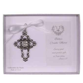 God Bless Baby Cross Cradle Medal with White Ribbon
