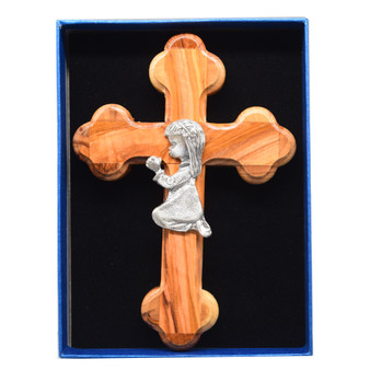 Olive Wood Cross with Little Girl in Prayer, 6 Inches
