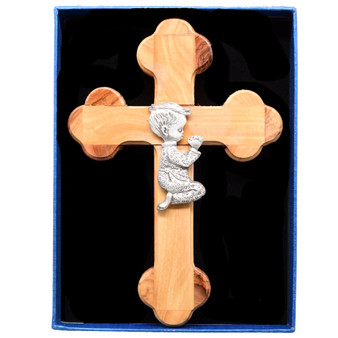 Olive Wood Cross with Little Boy in Prayer, 6 Inches