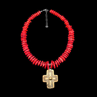 Red Coral Necklace with Silver Cross