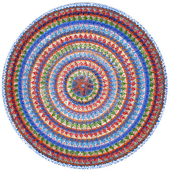 """Hand Painted Relief Turkish Ceramic Decorative Bowl, Star at Center, Diameter 12"""", Height 4"""""""