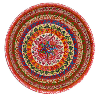 """Hand Painted Relief Turkish Ceramic Decorative Bowl, Diameter 6""""; Height 3"""", Rose Garden Lace"""
