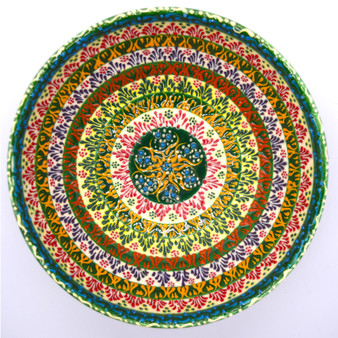 """Hand Painted Relief Turkish Ceramic Decorative Bowl, Diameter 6"""", Height 3"""", Green Garden Lace"""