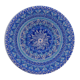"Hand Painted Relief Turkish Blue and White Ceramic Decorative Bowl, Diameter 5"", Height 2"""