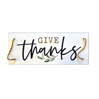 """Give Thanks"" Farmhouse Tray, 20"" x 8"""