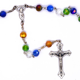 Multi-Colored Royal Crystal Rosary, 7 mm Beads.