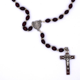 Deluxe St Benedict Rosary, 10 mm wood beads.